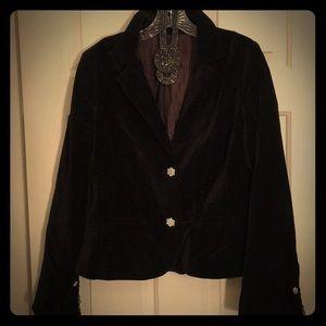 Black faux velvet blazer